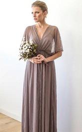 V-neck Pleated Lace Floor-length Dress