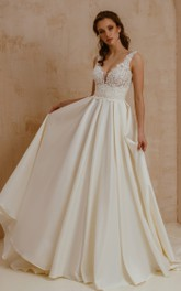 Elegant Modern Short Sleeve A Line Satin Lace V-neck Wedding Dress with Pleats