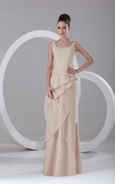 Sheath Chiffon Floor-Length Gorgeous Special-Occasion Bateau-Neck Dress