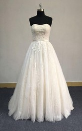 Lace Appliqued Lace-Up Back A-Line Strapless Dress