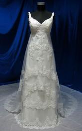 Long Lace Appliqued Sleeveless V-Neckline Dress