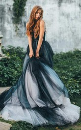 Plunged Cap-Sleeve Sleeveless A-Line Lace Appliqued Dress With Court Train