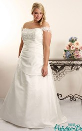 A-line Satin Ruched plus size wedding dress With Appliques