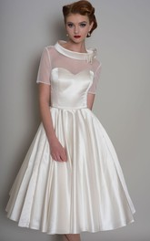 Short Sleeve Illusion Satin A-line Wedding Dress