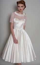 Short Sleeve Illusion Satin A-line Wedding Dress