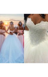 Sweetheart Lace Tulle  Sleeveless Wedding Dress
