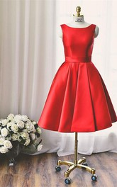 Bateau-Neck Bowknot Short Quality High Homecoming Red Dress