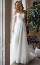 Off-the-shoulder Sweetheart Tulle Sleeveless Court Train Open Back Wedding Dress