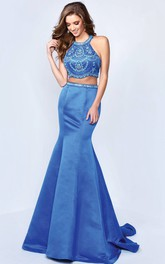 Trumpet Beaded Full-Length Jewel-Neck Satin Sleeveless Straps Dress