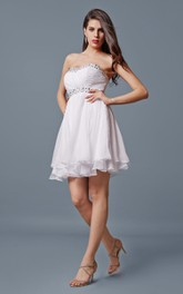 Empire Tier Chiffon Sweetheart-Neckline Jeweled Short Dress