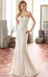 exquisite Sweetheart Sheath Lace Wedding Dress With Low-V Back And Sweep Train