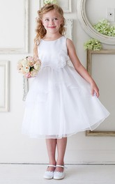 Appliqued Layers Floral Tea-Length Organza Flower Girl Dress