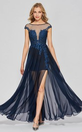 A-line Sexy Bateau Chiffon Split Front Gown With Lace Appliques And Deep V-back