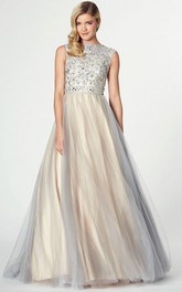 Jewel-Neck Sleeveless Tulle A-line Prom Dress With Beading And Low-V Back