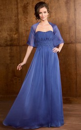 Strapless Ruched Mother of the Bride Dress With Appliques And cape