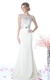 Column Jeweled Long Scoop-Neck Jersey Sleeveless Illusion Dress