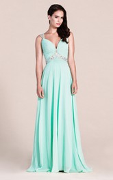 Floor-Length Colorful Rhinestone Long Plunging-Neckline Formal Gown