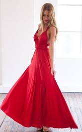 Sleeveless Floor-Length Detached A-Line Sassy Prom Red Dress