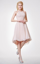 Haltered Chiffon High-low Knee-length  Bridesmaid Dress With Ruching