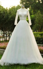Ball Gown V-Neck Illusion Illusion Brush Train Backless Zipper Illusion Tulle Dress