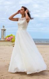 Lace Illusion Button Bridal Tulle A-Line Satin Dress