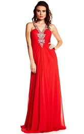 V-Neck Beaded Sleeveless Chiffon Prom Dress With Ruching And Straps