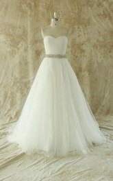 A-Line Beaded Satin Sash Ivory Romantic Wedding Gown
