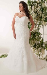 Sweetheart Lace Tulle Mermaid plus size Gown With Corset Back