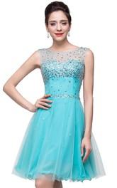 Short Crystals Sleeveless Classic Dress