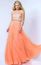 A-Line Beaded Floor-Length Jewel-Neck Chiffon Sleeveless Dress