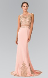 Column Jeweled Scoop-Neck Sleeveless Illusion Jersey Dress