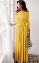 Maxi Long Sleeve Jersey&Satin Dress