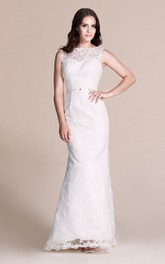 Appliqued Illusion Sheath Sleeveless Gown