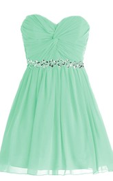 A-Line Sequined Band Ruched Sweetheart Short Gown