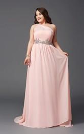 Sheath Floor-length One-shoulder Sleeveless Chiffon Waist Jewellery Pleats Straps Dress