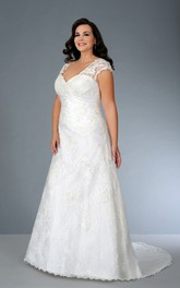 Lace Cap-sleeve A-line Dress With Corset Back And Sweep Train