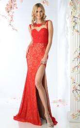 Column Split Front Appliqued Scoop-Neck Sleeveless Illusion Lace Dress