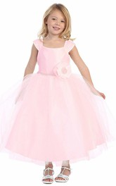 Tiered Cap-Sleeve 3-4-Length Flower Girl Dress
