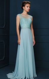 Bateau Cap-sleeve Chiffon Pleated Dress With Lace Appliques And Beading