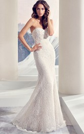 Sweetheart Long Beaded Lace Wedding Dress With Sweep Train
