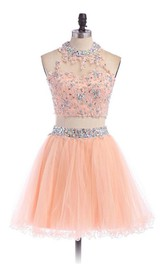 High-Neckline Rhinestoned Short A-Line Tulle Dress