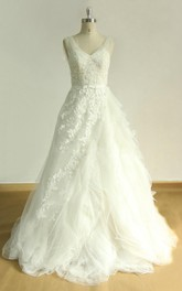 Tulle Ruffled Satin V-Neckline A-Line Bridal Lace Dress