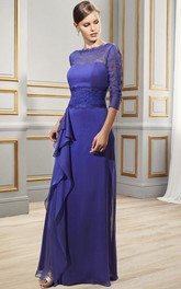 Bateau Illusion Long Sleeve Dress With draping And Lace top