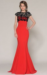 Jewel-Neckline Prom Lace Trumpet Jersey Dress