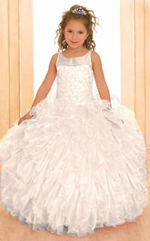 Jeweled Illusion Ruffled Floor-Length Sequined Flower Girl Dress