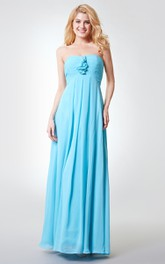 Strapless Pleated A-line Long Chiffon Dress