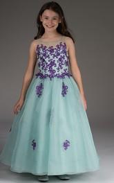 Appliqued Bodice Organza Illusion-Neckline Flower Girl Dress