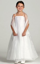 Jeweled Strapped Ankle-Length Spaghetti Flower Girl Dress