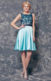 Sleeveless Lace Appliqued A-line Short Charmeuse Dress