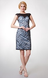 Short Illusion Back Bateau-Neckline Cap-Sleeved Lace Dress